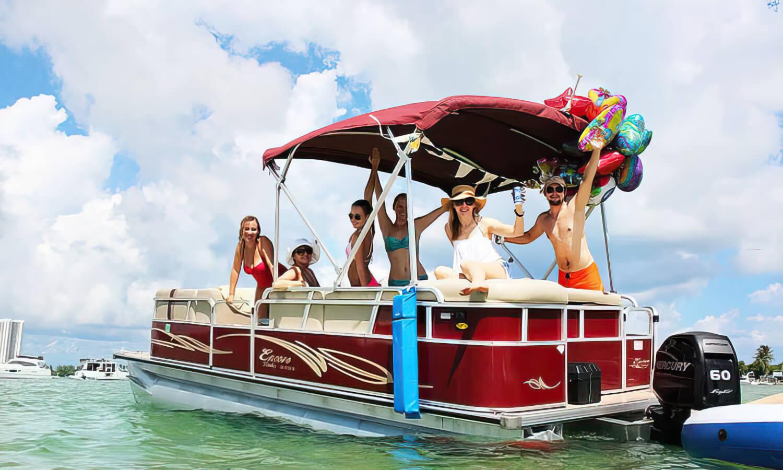 24 Foot Bentley Pontoon Boat Rental at Miami Party Boat